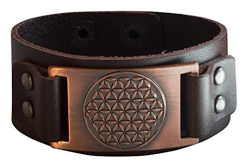 Pulsera unisex de piel marrón con símbolo de la vida y tachuelas de metal de color cobre, 23 x 3 cm, 30 g, ajustable, de alta calidad, Masculino y espiritual