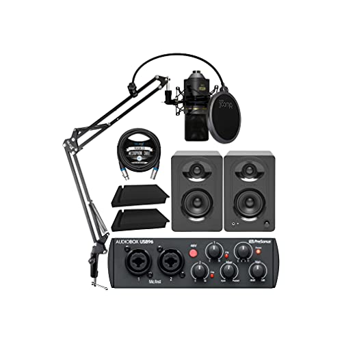 PreSonus AudioBox USB 96 25th Anniversary Audio Interface Bundle with MXL 770 Microphone (Black), MediaOne M30 Monitors, Blucoil Boom Arm Plus Pop Filter, 2x Acoustic Isolation Pads, and 10
