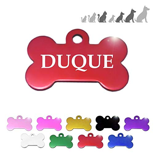 Placa Chapa de identificación Personalizada para Collar Perro Gato Mascota (Rojo)