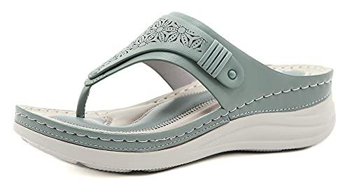 INMINPIN Chanclas de Cuña Mujer Verano Elegante Sandalias de Dedo Cuero Cómodo Plataforma Flip Flop Zapatillas de Playa Interior y Exterior,Verde,37 Mujer