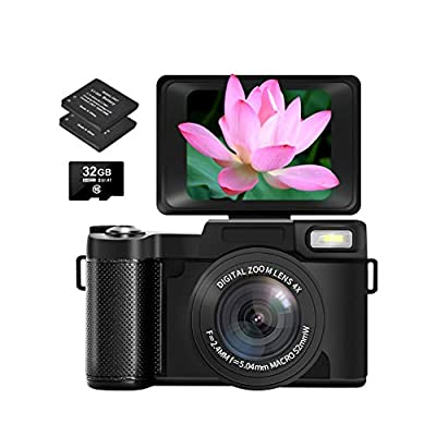 Digital Camera Vlogging Camera with Flip Screen for YouTube 24MP 2.7K Ultra HD 3.0 Inch with Retractable Flash Light from SUNLEO