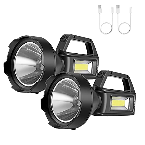 Rechargeable Spotlight Flashlight,High Lumens LED Handheld Searchlight with 4 Modes and USB Output,Waterproof Work Lights for Camping,Hiking, Hunting and Emergencies(2 Pack)