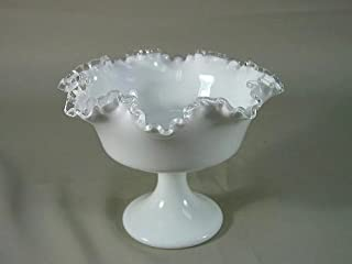 Fenton Silver Crest Milk Glass Compote Pedestal Serving Bowl Candy Dish