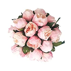 Floral Kingdom 14″ Real Touch Latex Artificial Peony Flowers for Floral Arrangements, Bridal Bouquets, Home/Office Decor (6 Flowers, 2 Buds)