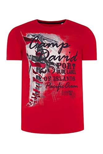 Camp David Herren T-Shirt mit maritimen Photoprint, Speed Red, XL