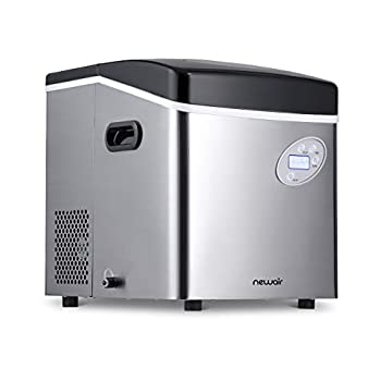 NewAir Portable Ice Maker 50 lb Daily - Countertop Design - 3 Size Bullet Shaped Ice - AI-215SS - Stainless Steel