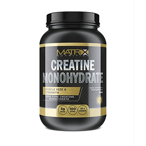 Matrix Nutrition Pure Micronised Creatine Powder 1kg - Best Monohydrate Pre Workout Supplement Weight Gain. (Unflavoured, 500G)
