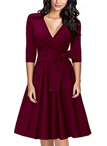 MIUSOL Damen Elegant 3/4 Aermel V-Ausschnitt 40er Retro Cocktailkleid RockabillyParty Kleid Weinrot M