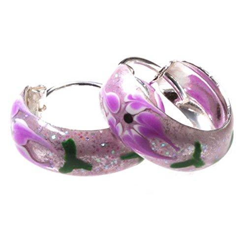SL-Silver orecchini a cerchio fiore lucido 925Argento in confezione regalo