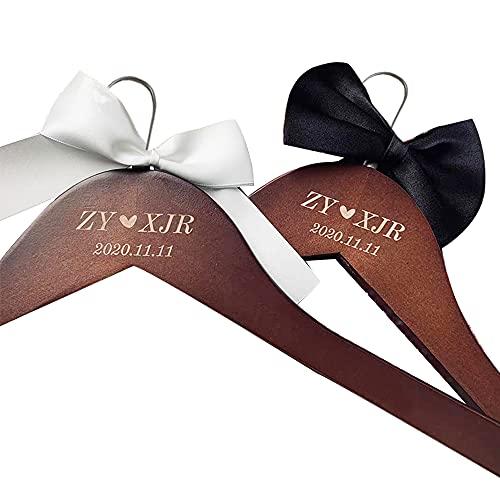 Almondle Percha de Novia Personalizada Percha de Novio, Perchas de Boda Nupciales Personalizadas Percha de Madera grabada Perchas de Nombre Regalo de Fiesta de Boda