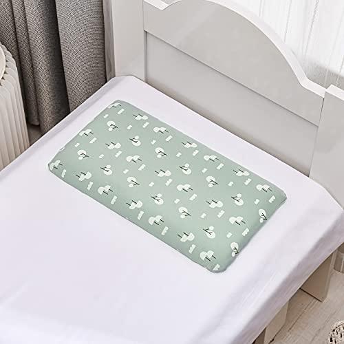 MRBJC Almohada para niños pequeños con funda de almohada – Almohadas de algodón orgánico suave para dormir – niños pequeños, niños, bebés, perfecto para viajes, cuna verde 50 x 29 x 4 cm