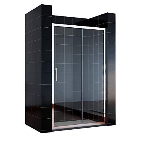 SONNI Schiebetür Dusche 120cm Duschtüren Duschabtrennung Klarglas Duschwand Duschkabine
