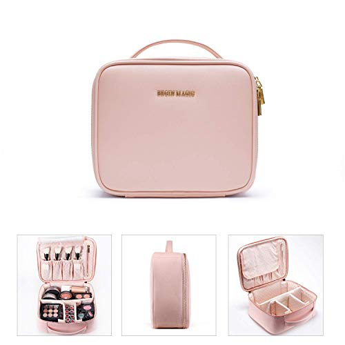 BEGIN MAGIC Travel Makeup Organizer Case Bag Makeup Train Case Portable Waterproof Pink Leather Cosmetic Bag Travel Organizer with Adjustable Dividers