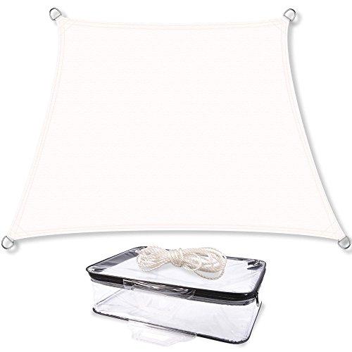CelinaSun Sonnensegel inkl Befestigungsseile PES Polyester wasserabweisend imprägniert Trapez 4 x 5 x 3 x 3 m weiß