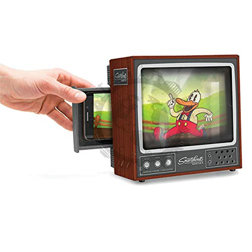 Retro TV Phone Screen DIY Amplifier Enlarged Video Picture from Smartphone Mobile Phone 3D Magnifier Projector Screen (Retro, One Size)