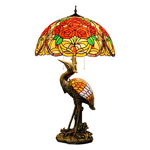 CENPEN Hombre del estilo de Tiffany lámpara de escritorio de la grúa, 50CM rosa magnífica pantalla de cristal, luz de la noche Adecuado for decorar la habitación lámpara de mesa cubierta Tiffany Lámpa