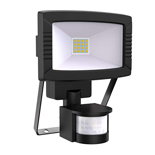 Faro LED esterno con sensore di movimento, luce a LED crepuscolare, faretti a parete con accensione automatica, color nero, luce fredda 7000K 8,5W IP44
