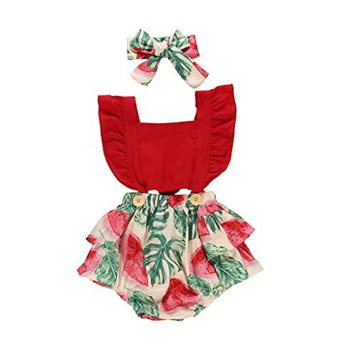 TOPKEAL Conjunto de ropa para bebé de verano, pelele fruncido, body y diadema rojo 70 cm