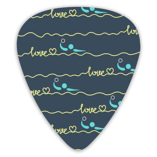 NiYoung Custom Guitar Pick Unique Guitar Pick Luxury Love Water Polo Heart Best Mom Gift Prints Guitar Pick with Different Sizes Contain Thin,Medium & Thick Gauges
