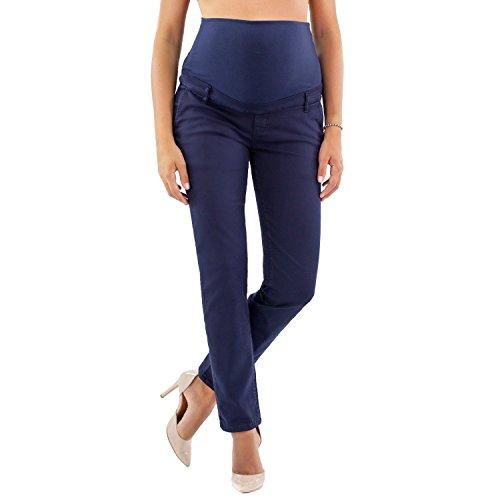 Viareggio - Pantalones De Maternidad Clásicos y Casual, Pantalón Chino para Mujer - Made in Italy (42, Navy)