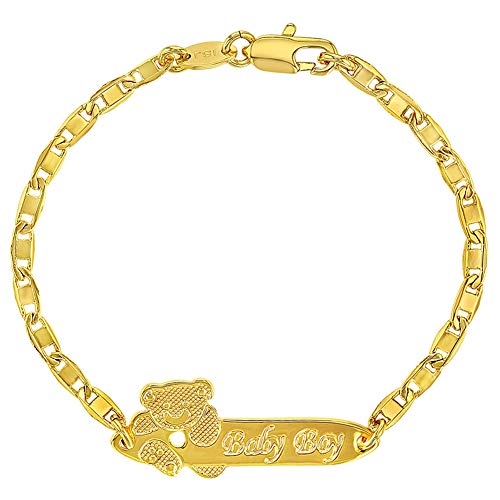 """In Season Jewelry Delicate Teddy Bear Baby Boy Tag Identification Charm Bracelet for Toddler Boys 5.5"""" - Adorable and Elegant Link Chain Bracelet for Infants, Toddlers, and Little Boys"""