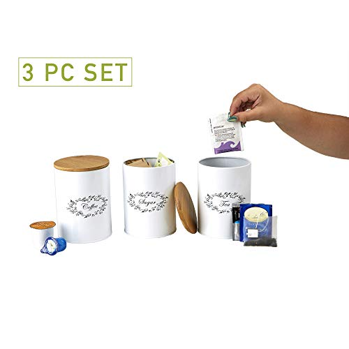 Mind Reader 3-Piece Metal Canister Set For Kitchen Coffee Sugar Tea and More