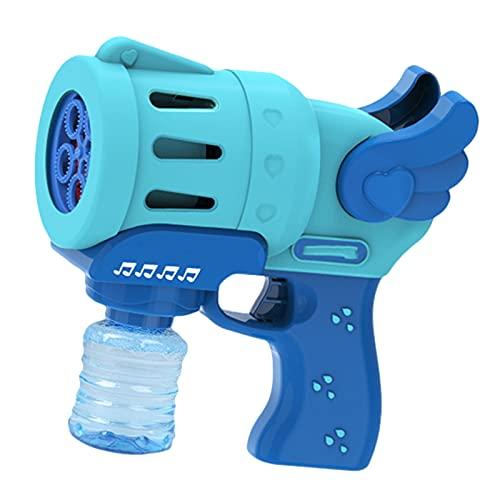 Juguete De Máquina De Burbujas Eléctrica para Niños De Verano, Varita De Burbujas De Cinco Orificios con Luz Y Música, Regalo del Día De Los Niños para Niños Y Niñas,Azul