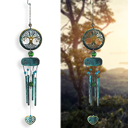Wind Chimes Outdoor Deep Tone, Tree of Life Memorial Wind Chimes, Retro Windchimes Unique Outdoor Gifts, 27 inch Windchimes with 4 Tuned Tubes, Retro Asphalt Chime for Garden Patio Balcony and Home