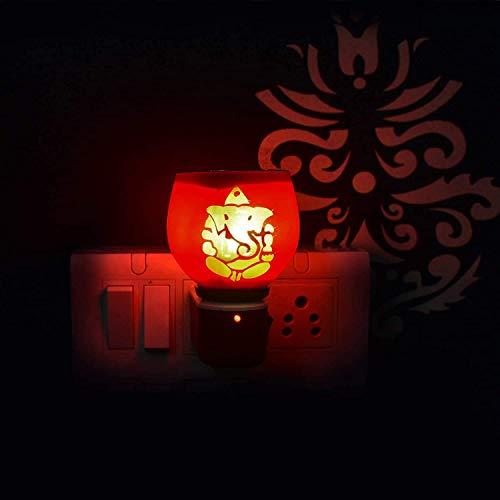 HR ENTERPRISE Beautiful Ganpati Ceramic Kapoor Dani/Aroma Oil Burner Cum Night Lamp with Switch (in-Built On/Off Button for Heating) Design DN_11