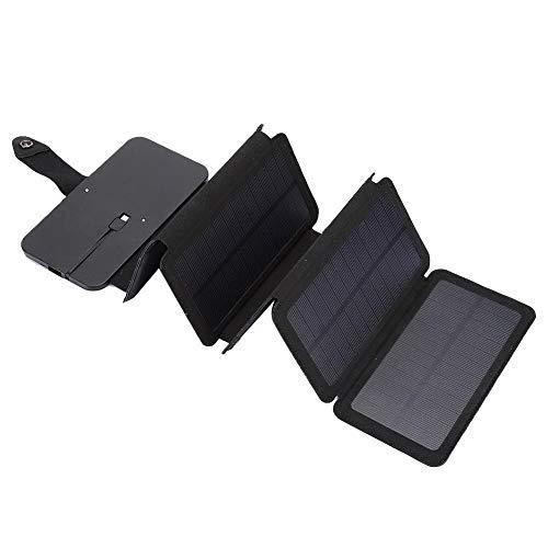 Cosiki Cargador de Panel Solar USB de Banco de energía móvil, Cargador de Panel Solar, para teléfono móvil, teléfono USB, Todos los teléfonos, teléfono AndroidOS(Black)