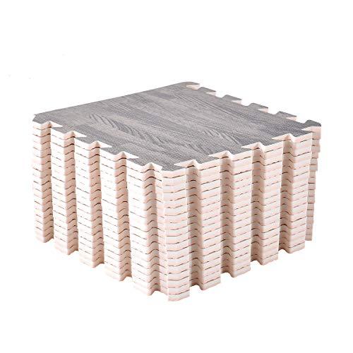 UMI. Essentials Foam Holzmaserung ineinandergreifende Fußmatten (6Stk-2,16qm/9Stk-0,81qm) (Grau, 30x30cm (18 STK. / 1,62qm))