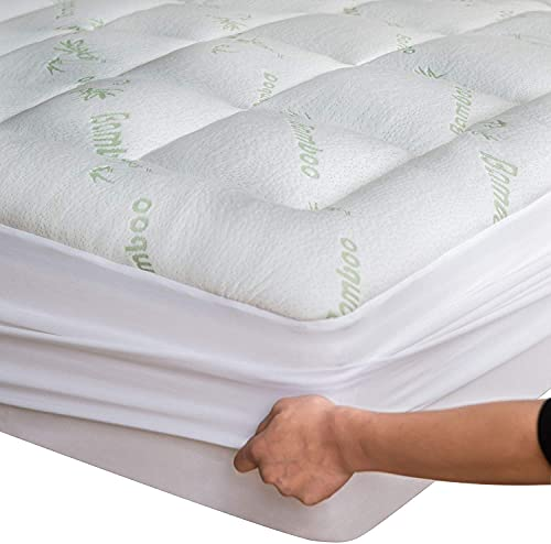 Bamboo Mattress Topper Twin Cooling Breathable Extra Plush Thick Fitted 8-20 Inches Pillow Top Mattress Pad Rayon Cooling Ultra Soft (Bamboo, Twin 39x75 Inches)