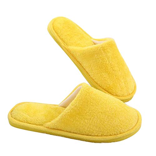 ONEYMM Pantuflas de algodón para mujer, para hombre, suaves, gruesas, para interiores, cómodas, 4,35