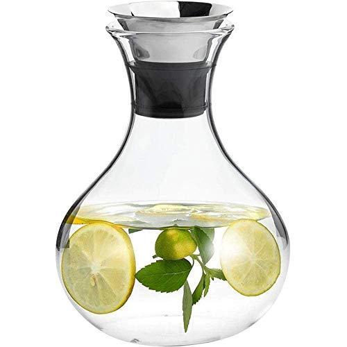 HJYSQX Jarra de Vidrio de 1.0 l/litro con Tapa y sin Fugas de Agua, Jarra de Jarra de Agua para Agua Caliente/fría, para Hielo Jarra de Bebida de té y Jugo con Inserto - 100% Libre de BPA (Olla