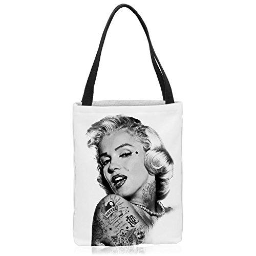 VOID Marilyn Tattoo Tasche Einkaufs-Beutel Polyester Shopper Einkaufs-Tasche Bag, Polyestertasche Größe:Medium