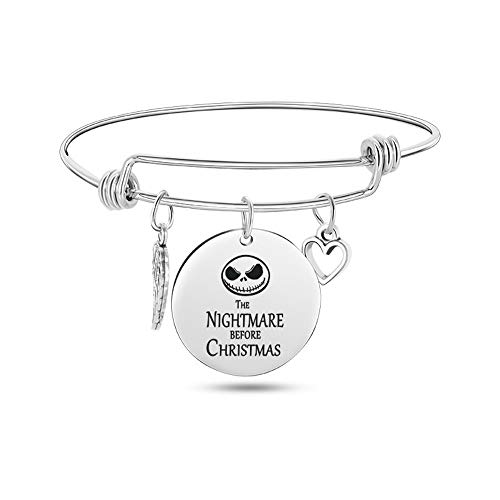 Jack Skellington Bangle Bracelet Gift, Jack and Sally Nightmare Before Christmas (Bracelet-F)