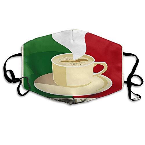 Atmungsaktive Premium Gesichtsschutzhülle,Kaffee Gesichtsdekorationen Italien Espresso Cappuccino Mit Italienischer Flagge Frauen Männer Anti Wind Staubschutz Schutzhülle Für Skifahren Camping Reise