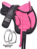 HR, International Youth Child English Synthetic Treeless FREEMAX English Pony Miniature Horse Saddle Tack with Handle Get Matching Girth & Leather Straps Size 10' Inches Seat