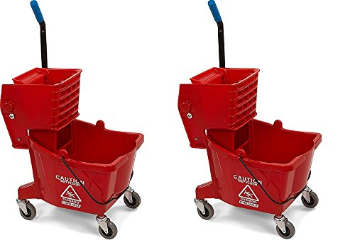 Carlisle 3690805 Commercial Mop Bucket with Side Press Wringer, 26 Quart Capacity, Red (2-(Pack))