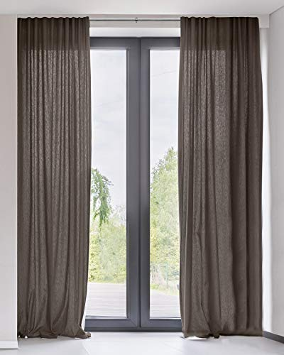 """CHICOLOGY Curtain Panels, Rod Pocket Top Window Drapes, Adorn Brown (Sheer) - 52""""W X 84""""H"""