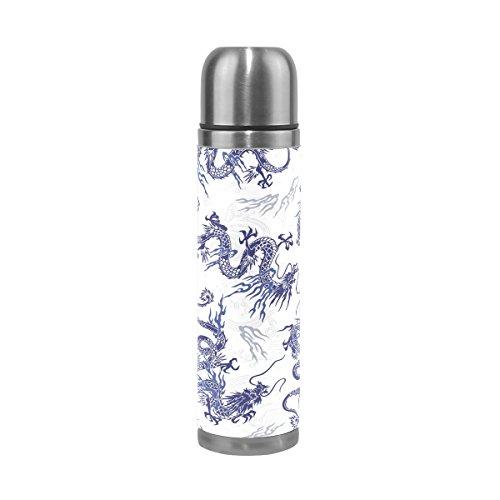 coosun japonés dragón patrón Thermos botella de agua de acero inoxidable aislado al vacío taza a prueba de fugas doble vacío botella de viaje taza térmica, de piel sintética, 17oz