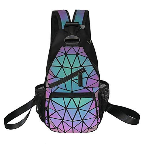 Yumira Geometric Backpack, Fashion Women Luminous Holographic Reflective Backpack Casual Shoulder Bag Reflective Festival Bag