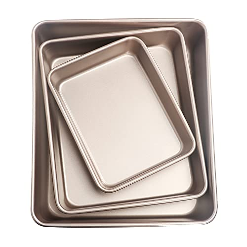 3 Pack Baking Sheet Pan Sets, Best Steel Cookie Sheets Pan, Non-stick Heavy Duty Gold Baking Tray for Commercial and Home Oven Cooking, 9/11/13Inch