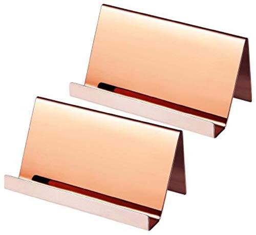 dilib ステンレス製 ショップカード スタンド 名刺置き 卓上 カードホルダー 名刺スタンド 名刺立て 名刺入れ 2個入りセット (ピンクゴールド)