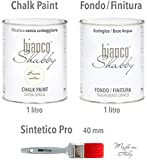 CHALK PAINT Bianco Antico & FINITURA + PENNELLO - Pittura Shabby Chic EXTRA OPACA (1 Litro) + Finitura Trasparente Opaco (1 Litro) + 1 Pennello Pro 40 mm