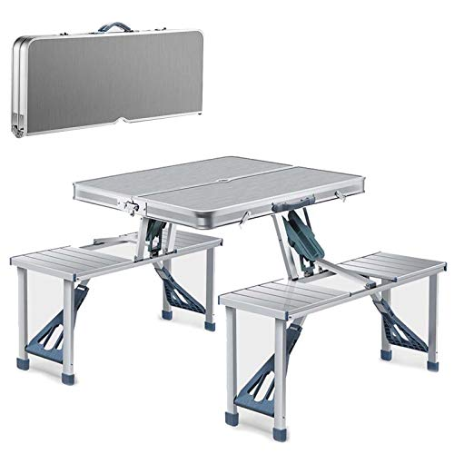 YJHH Small Folding Camping Table, Camping Table for Grill Portable, with Aluminum Table Top 4 Chairs Umbrella Hole, Lightweight Metal Foldable Camping Table for Grill Balcony Garden Camping,Silver