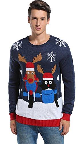 daisysboutique Daisyboutique Men's Christmas Reindeer Sweater Cute Ugly Pullover (Medium, Reindeer+Penguin)