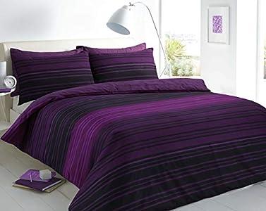 Sleepdown - Juego de Funda de edredón y Funda de Almohada, diseño de Rayas, Color Morado