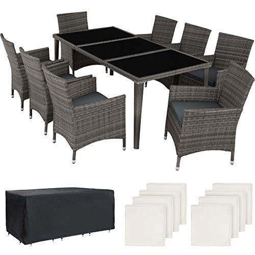 TecTake 800104 Aluminium Poly Rattan Essgruppe, 8 Stühle + 1 Esstisch mit Glasplatten, inkl. 2 Bezugssets und Schutzhülle - Diverse Farben (Grau | Nr. 403084)
