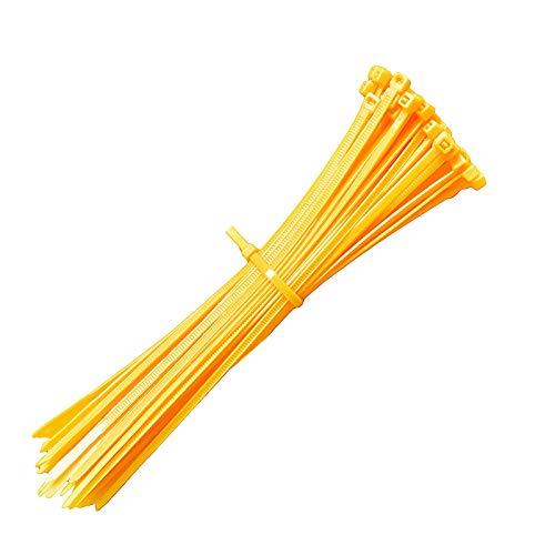 Kabelbinder 200mm, Rscolila Gelb Kabelbinder Hochleistungs Kabelbinder für das Kabelmanagement,100 Stück (Gelb))